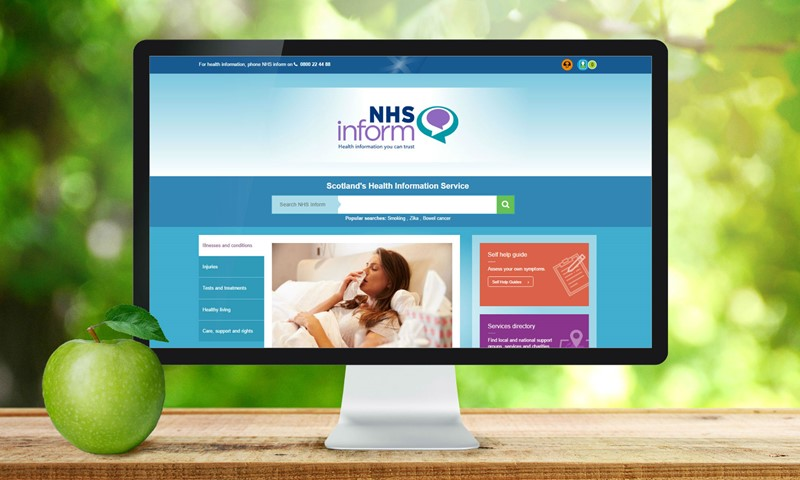 Homepage of the NHS inform website